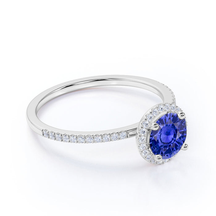 1.25 Carat Round Cut Halo Sapphire and Diamond Engagement Ring in 10k White Gold