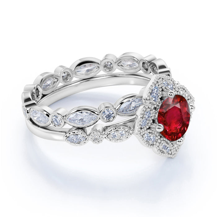 Vintage Floral Design 2.25 Carat Round Cut Ruby and Diamond Bridal Set with Eternity Band in White Gold