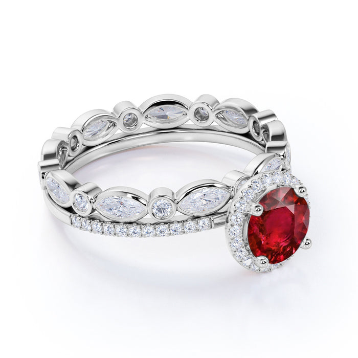Antique Eternity Styled 1.50 Carat Round Cut Ruby and Diamond Pave Wedding Ring Set in White Gold
