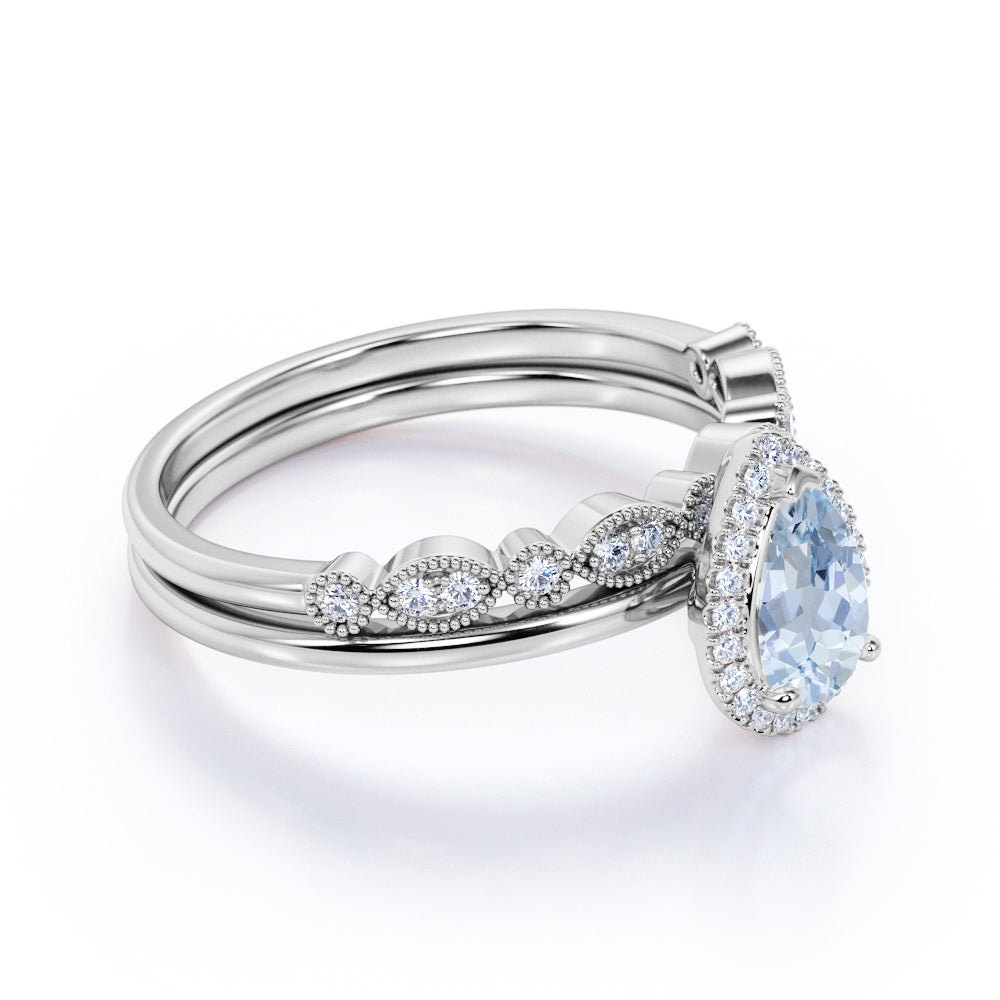 2.50 Carat Huge pear cut Aquamarine and Diamond Halo Engagement Ring Set in White Gold