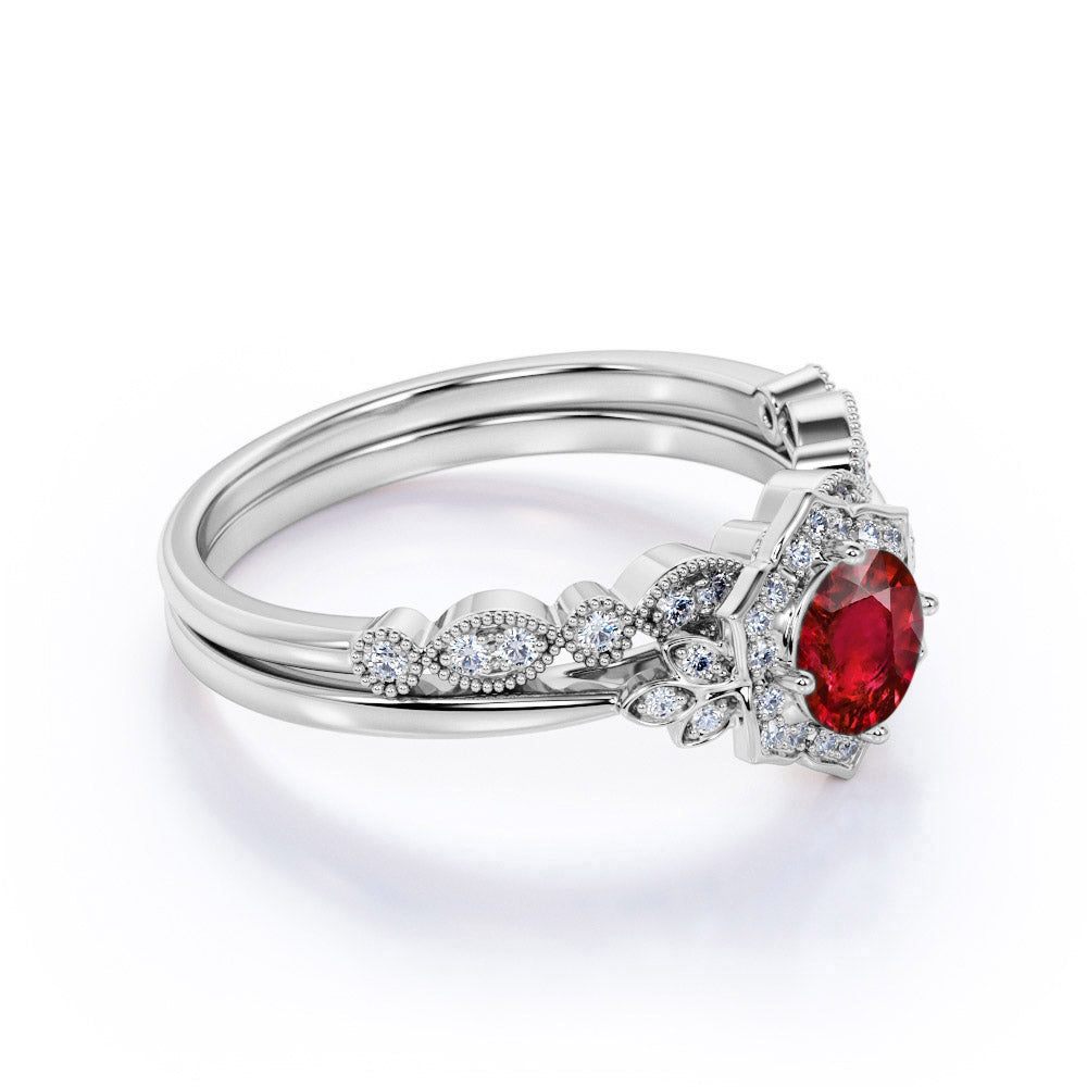 Elegant Floral Design 2 Carat Round Cut Ruby and Diamond Wedding Ring Set with Milgrain Art Deco Band in White Gold