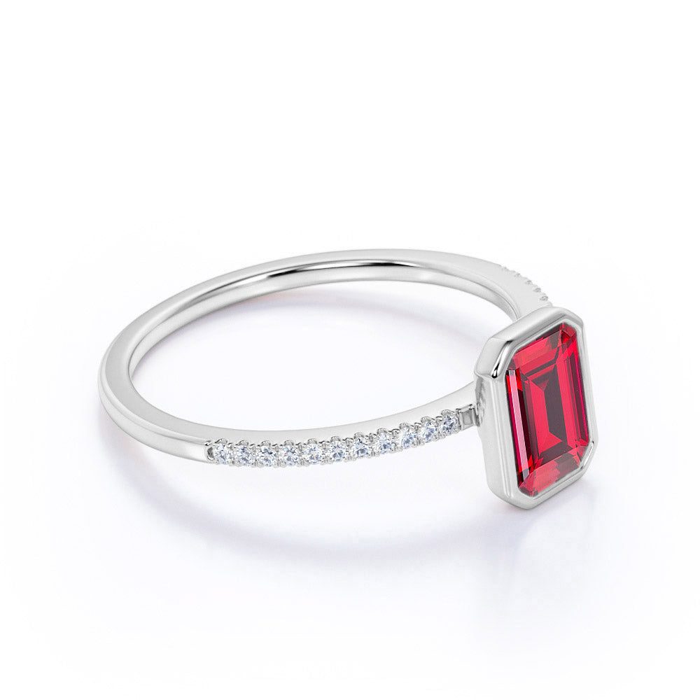 Classic Bezel Set 1.25 Carat Emerald Cut Ruby and Micro Pave Diamond Engagement Ring in White Gold