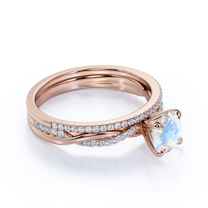 1.25 Carat Round Moonstone Wedding Ring Set in Rose Gold - 2pcs Wedding Rings - Antique Moonstone Ring