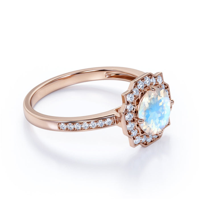 Flower 1.50 Carat Round Cut Rainbow Moonstone and Diamond Antique Engagement Ring in Rose Gold