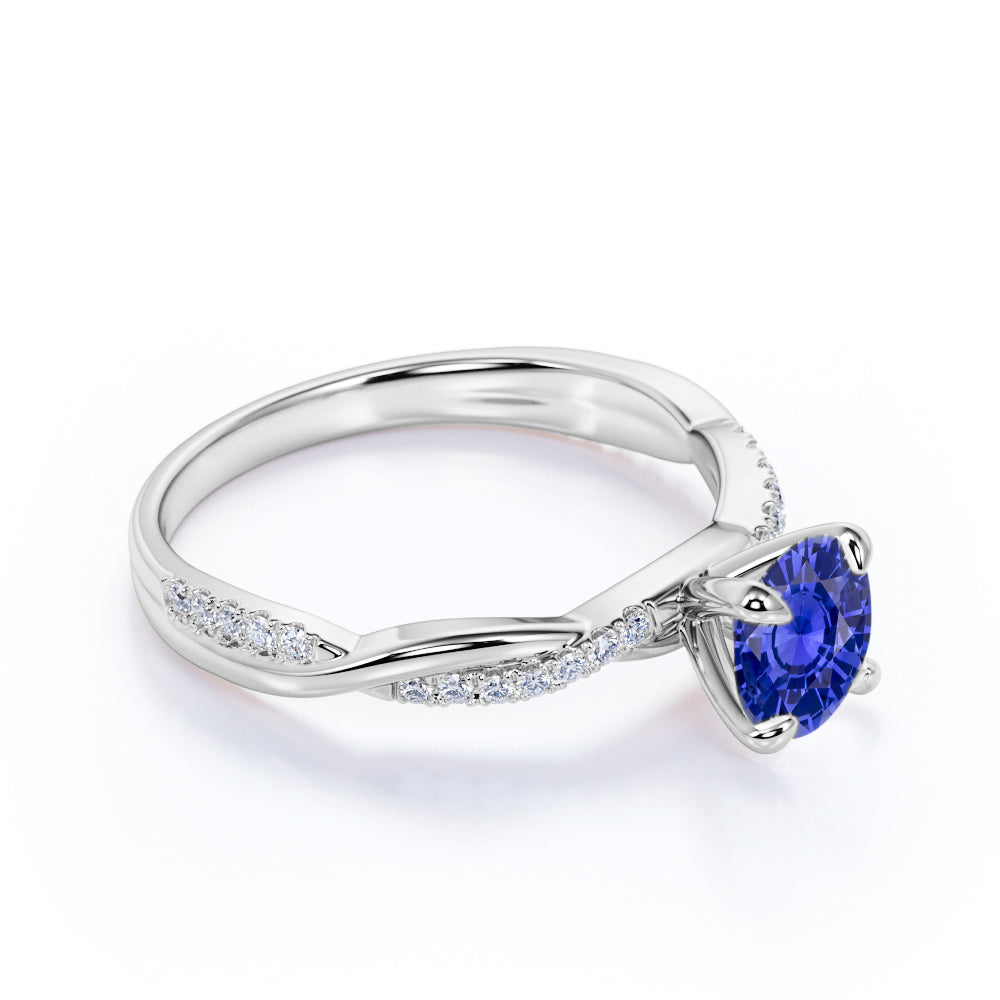 1.25 Carat Round Cut Sapphire and Diamond Engagement Ring in 10k White Gold Splendid Ring