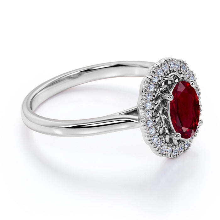 Plain Band 1.25 Carat Oval Cut Ruby and Diamond Halo Engagement Ring in White Gold