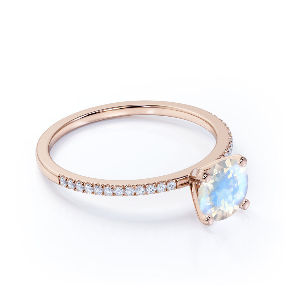 Vintage 1.10 Carat Round Cabochon Cut Rainbow Moonstone and Diamond Engagement Ring in Rose Gold