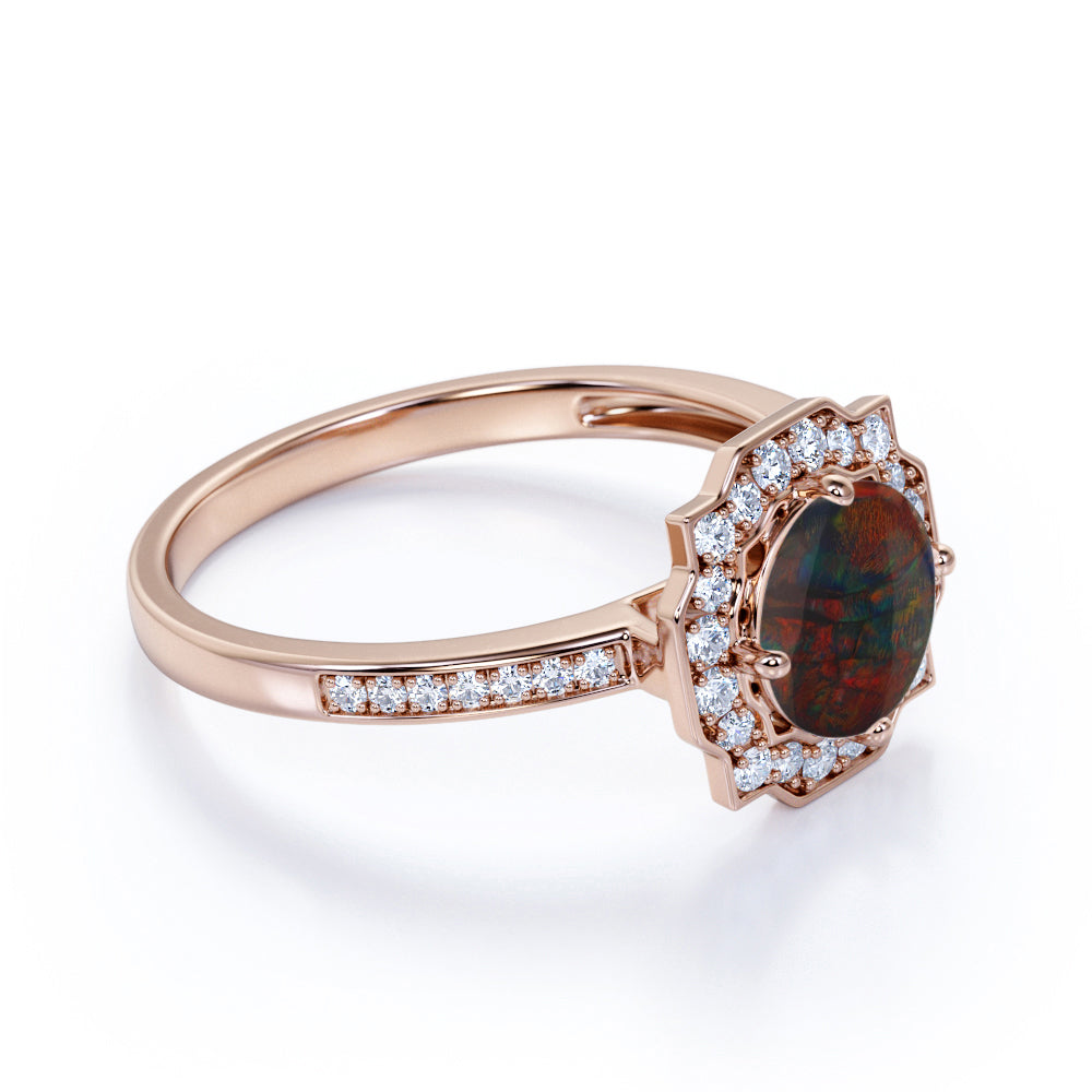 Unique Flower Design 2 Carat Round Cut Red Fire Black Opal and Diamond Channel Set Engagement Ring in White Gold for Her