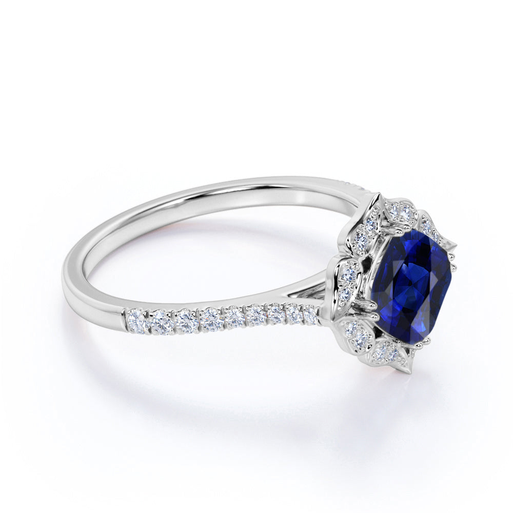 Art Deco Style 1.25 Carat Cushion Cut Sapphire and Diamond Engagement Ring in White Gold