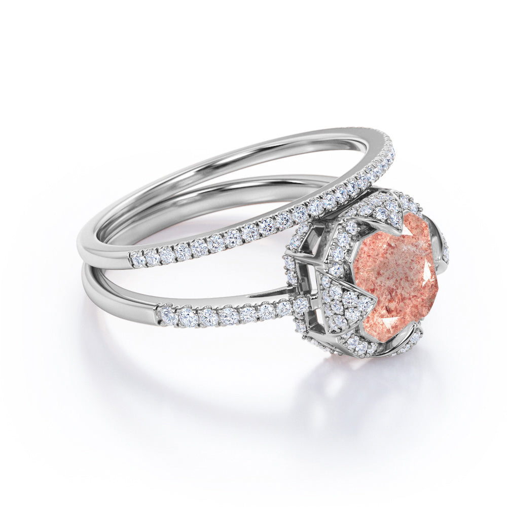 Octagon Halo Prong Setting 2.25 Carat Asscher Cut Bright Orange Pink Strawberry Quartz with Diamond pave Band Bridal Set Rings