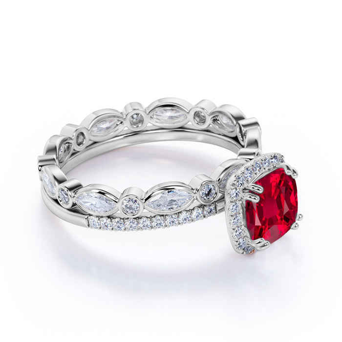 Antique Eternity 2.25 Carat Cushion Cut Ruby and Diamond Halo Wedding Set in White Gold