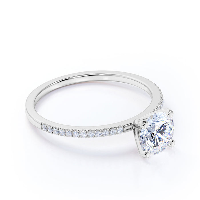 1.25 Carat Round cut Moissanite and Diamond Engagement Ring in 10k White Gold