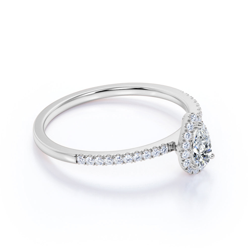 1 ct TDW Pear Cut Real Diamond Halo Engagement Ring in 10k White Gold