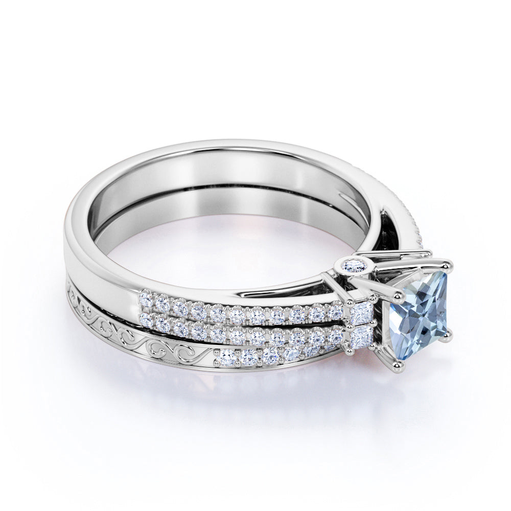 2 Carat princess cut Aquamarine and Diamond Halo Wedding Set in White Gold