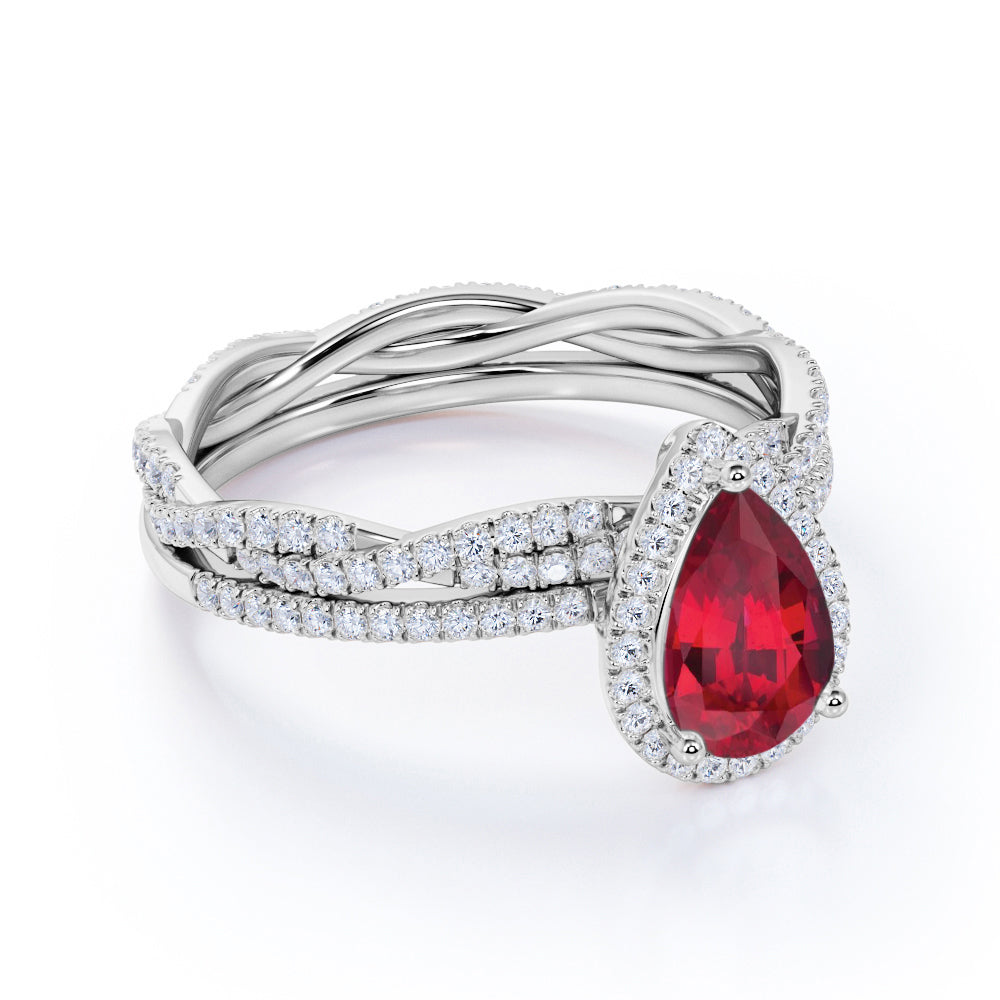 Classic Pave 2.25 Carat Pear Shape Ruby and Diamond Halo Bridal Set with Infinity Band in White Gold
