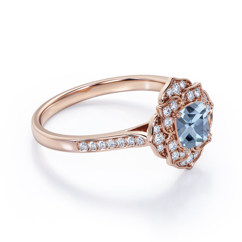 Delicate Flower Bezel 1.75 Carat Cushion Cut Aqua Sky Blue Aquamarine and Diamond Channel Set Engagement Ring in Rose Gold for Women