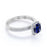 Classic Pave 2 Carat Cushion Cut Sapphire and Diamond Halo Bridal Ring Set in White Gold