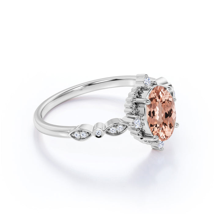 2 Carat Oval Cut Morganite and Diamond Scalloped Band Engagement Ring in White Gold