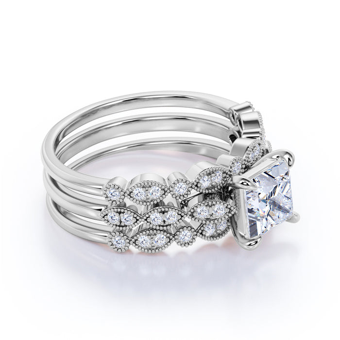 2 Carat Princess Cut Moissanite and Diamond Trio Bridal Ring Set in 10k White Gold Beautiful Ring