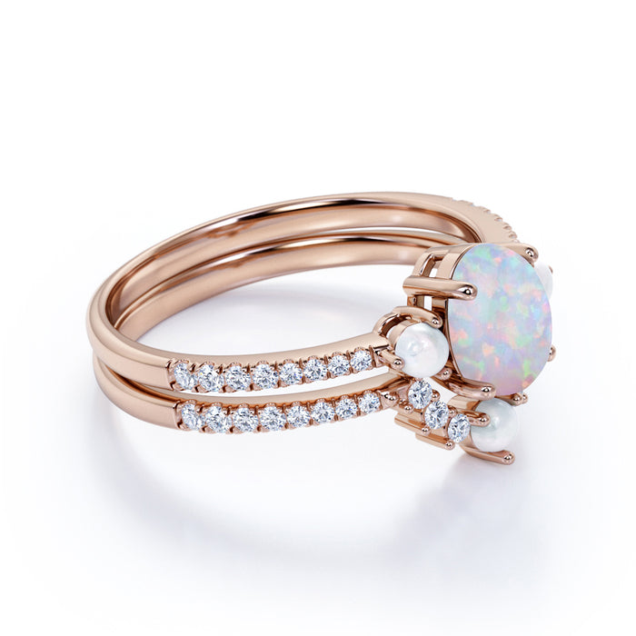 Unique Contour 1.25 Carat Oval Cut Australian Opal and 3 Stone Diamond Vintage Wedding Set in Rose Gold
