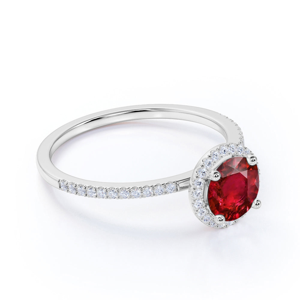 Stylish 1.50 Carat Round Cut Ruby and Diamond Sparkling Halo Engagement Ring in White Gold
