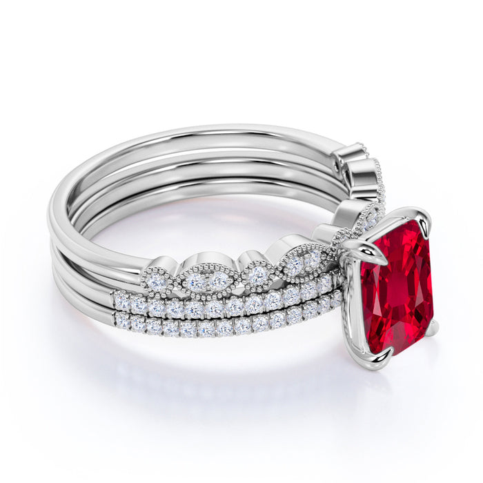 Handmade Micro Pave Set 2.50 Carat Emerald Cut Ruby and Diamond Trio Wedding Set in White Gold