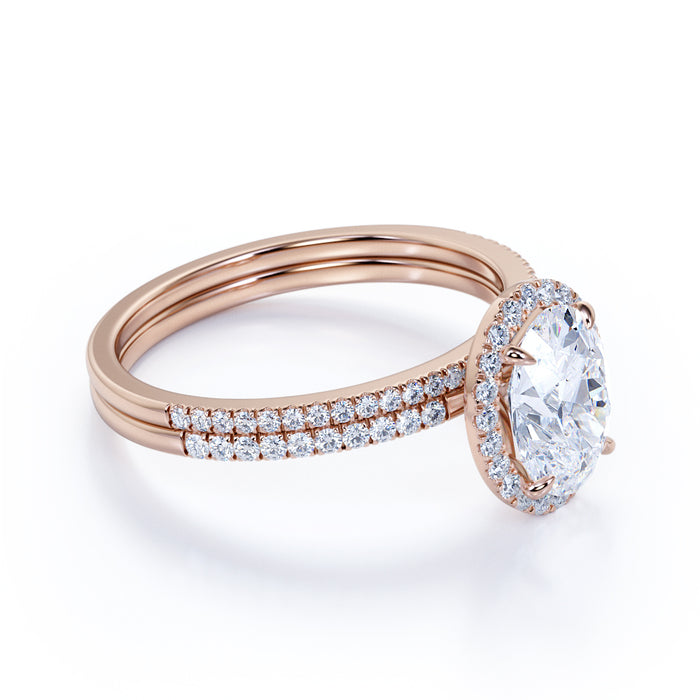 Flawless 1.5 Carat Oval Cut Moissanite and Diamond Wedding Ring Set in 10k Rose Gold Hand Made