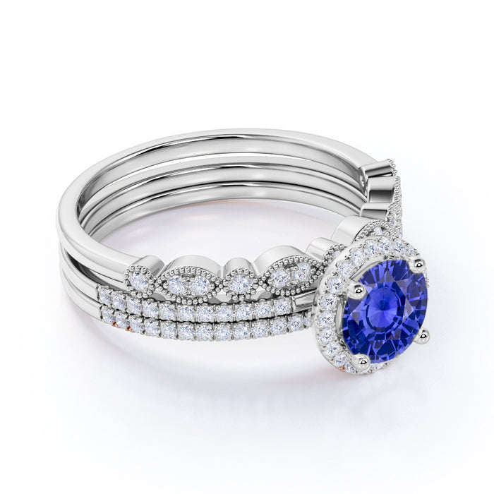2 Carat Round Cut Sapphire and Diamond Trio Bridal Ring Set in 10k White Gold Splendid Ring