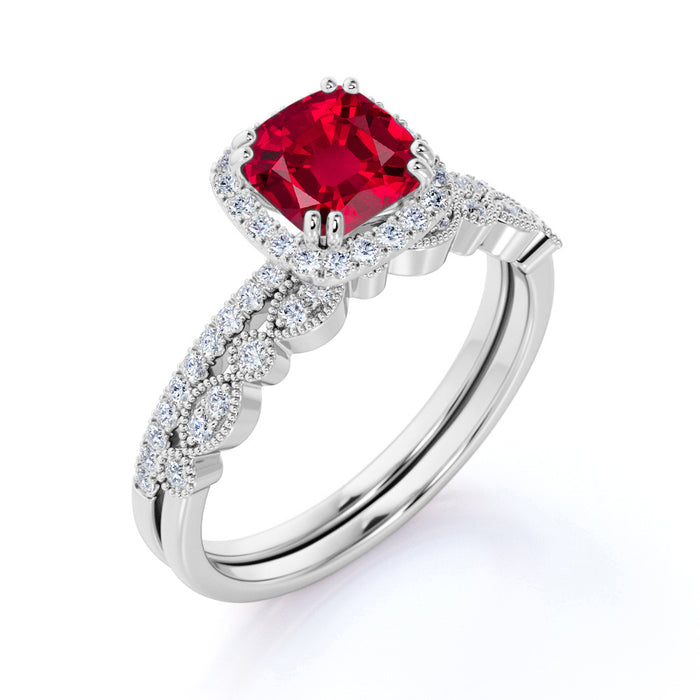 Classic Pave 2 Carat Cushion Cut Ruby and Diamond Halo Bridal Set with Art Deco Band in White Gold