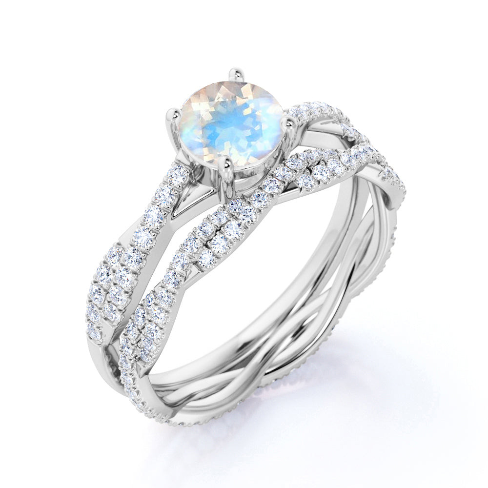2 Carat Round Rainbow Moonstone and Diamond Infinity Wedding Ring Set in White Gold