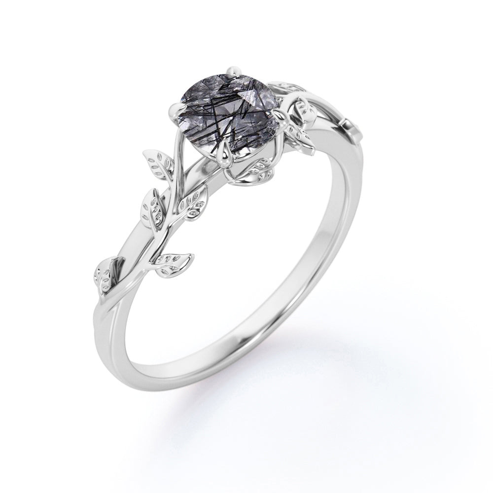 Art Deco Leaf Design 1 Carat Round Natural Dendritic Black Rutilated Quartz Solitaire Engagement Ring