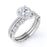 2 Carat Round cut Moissanite and Diamond Trio Wedding Set in 10k White Gold