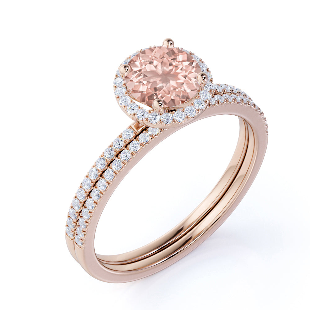 Limited Time Sale 1.50 carat Round Cut Morganite and Diamond Halo Bridal Wedding Ring Set in Rose Gold: Bestselling Design