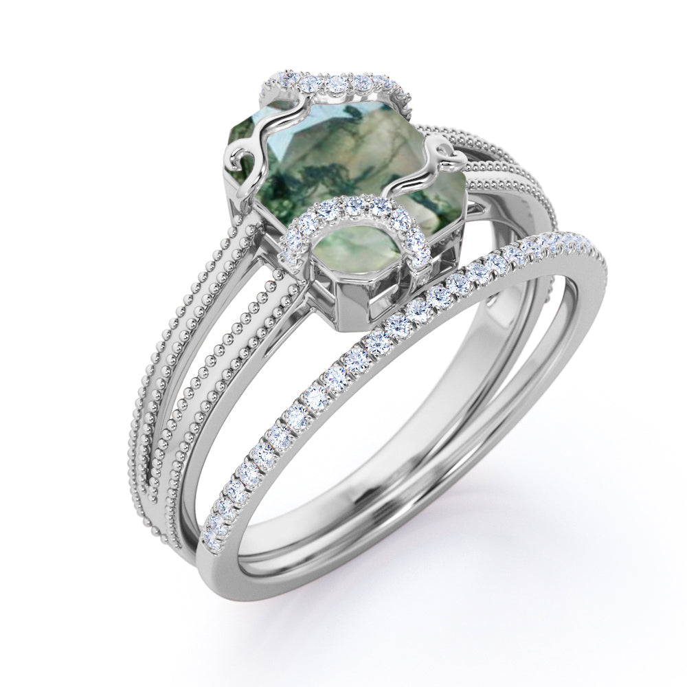 Solitaire Wire Wrapped 2.50 Carat Emerald Cut Dendritic Moss Green Agate with Diamond Pave Band Split Shank Wedding Ring Sets