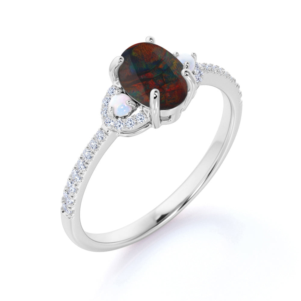 Modern Three Stone 1.50 Carat Oval Cut Natural Red Black Opal and Diamond Pave with Pearls Engagement Ring in White Gold for Her