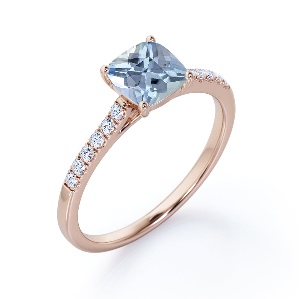 Simple Solitaire 1.50 Carat Cushion Cut Natural Vivid Blue Aquamarine and Diamond Semi Eternity Pave Classic Engagement Ring