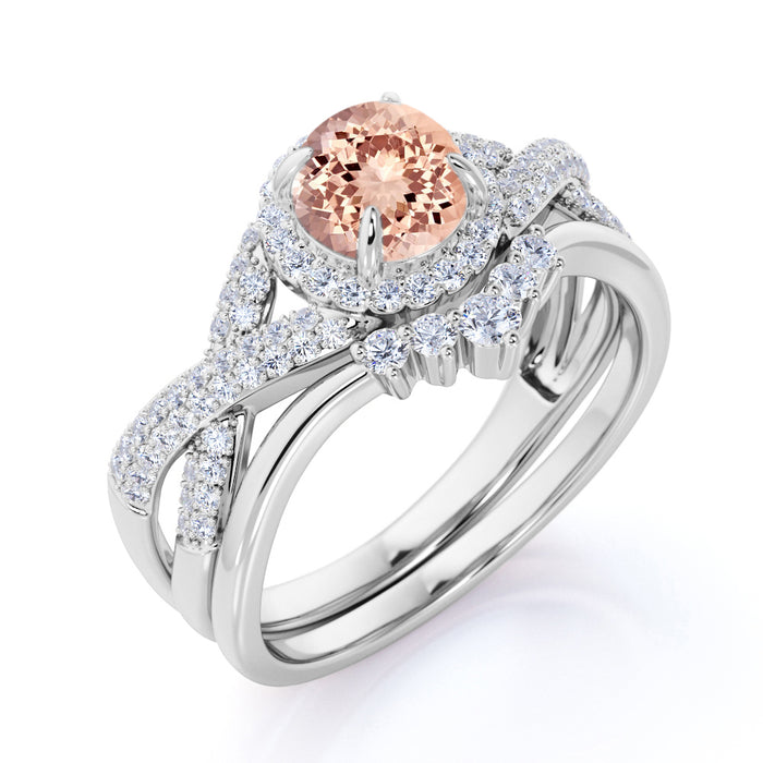 2 Carat Round Cut Morganite and Diamond Crown Halo Wedding Set in White Gold