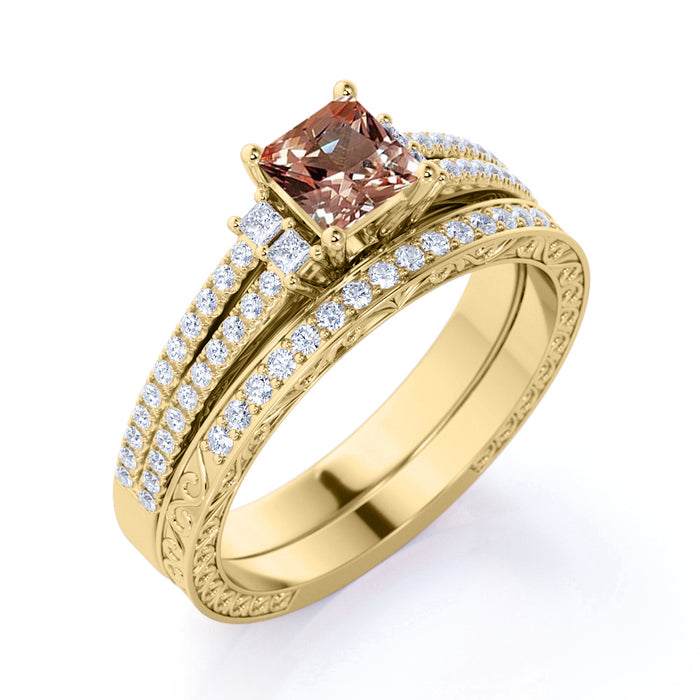 Limited Time Sale: 2.25 Carat Cushion cut Morganite and Diamond Halo ArtDeco Wedding Ring Set in Yellow Gold