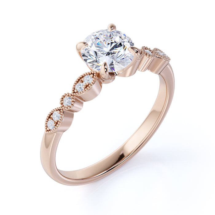 1.25 Carat Round cut Moissanite and Diamond Antique Engagement Ring in 10k Rose Gold