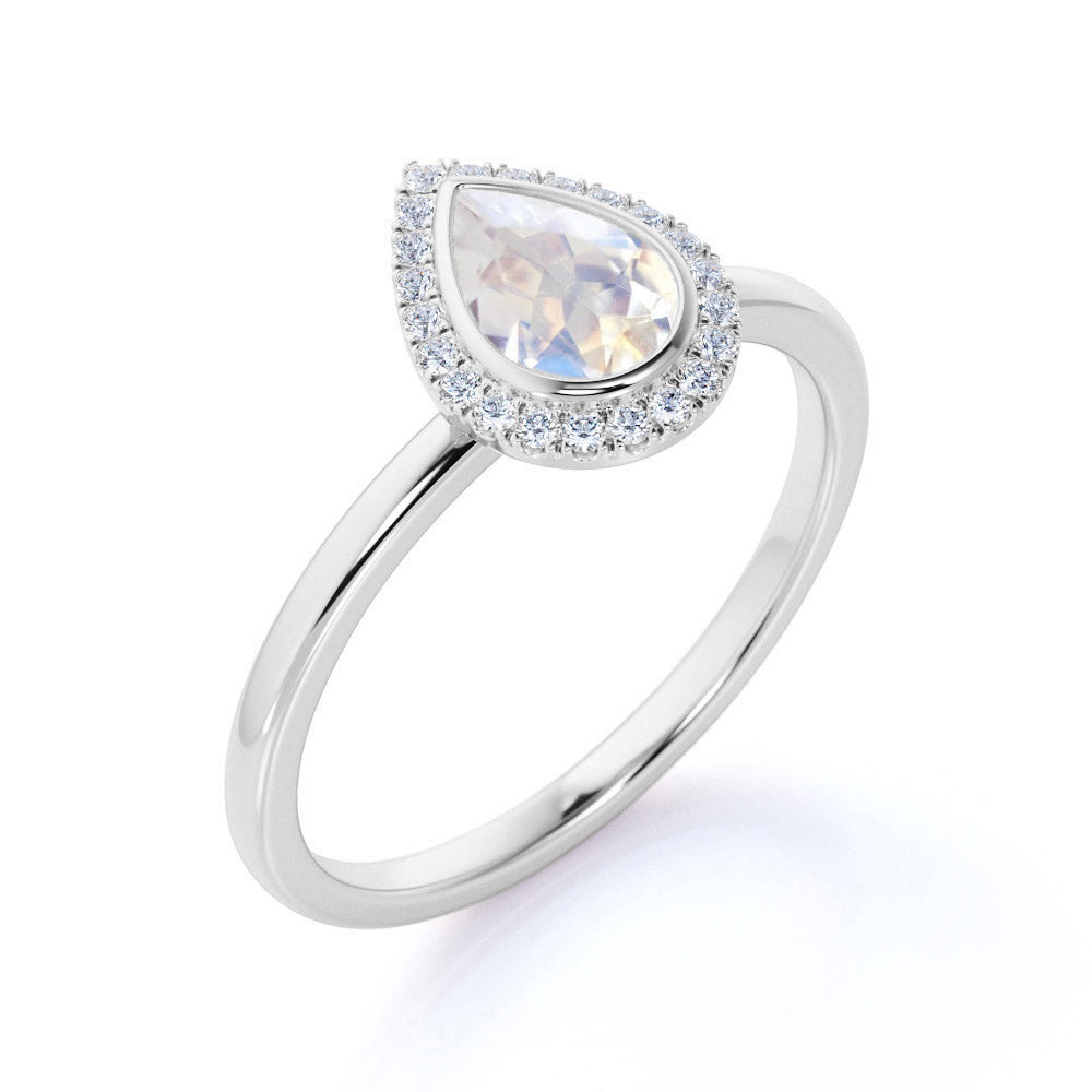 Classic 1.25 Carat Pear Shape Rainbow Moonstone and Diamond Halo Engagement Ring in Rose Gold