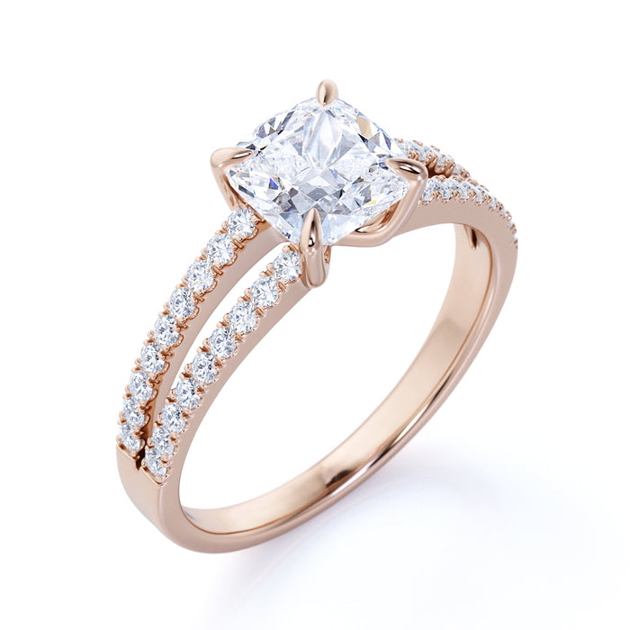 Designer 1.25 Carat Cushion Cut Moissanite and Diamond Engagement Ring in 10k Rose Gold