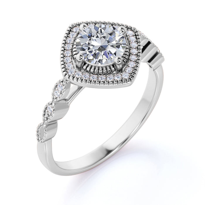 Bestselling 1.50 Carat Round cut Moissanite and Diamond Wedding Ring in 10k White Gold