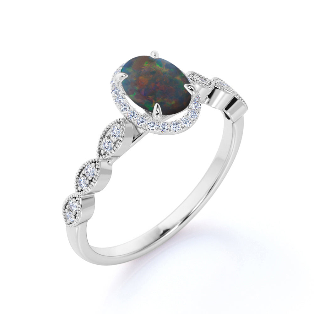 Vintage Halo 1.50 Carat Oval Cut Real Black Opal and Diamond Art Deco Engagement Ring in Rose Gold for Her