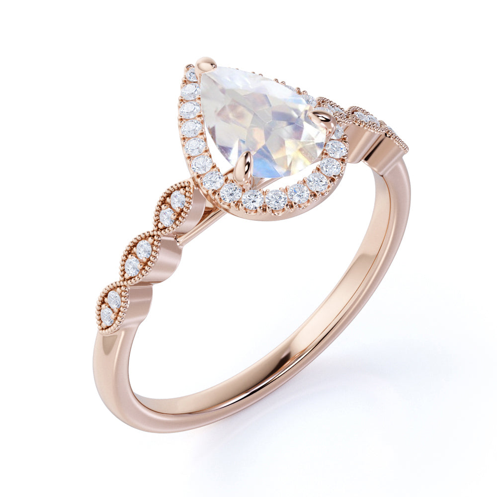 Vintage 1.25 carat Pear Cut Rainbow Moonstone Ring with Authentic Diamond Shank Engagement Ring in Rose Gold