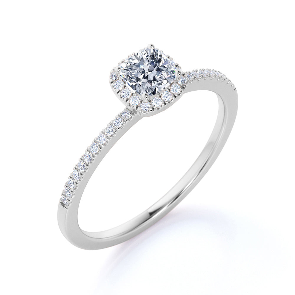 .50 ct TDW Cushion Cut Real Diamond Halo Engagement Ring in 10k White Gold