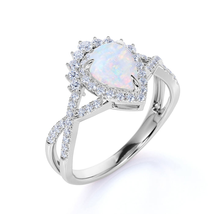 Classic Infinity 1.75 Carat Pear Shape Fire Opal and Diamond Halo Engagement Ring in White Gold