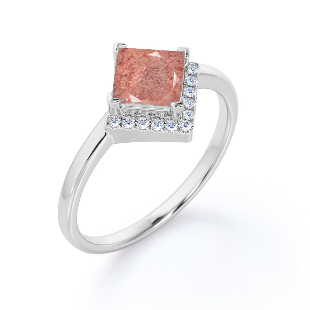 Minimal Solitaire 1.50 Carat Princess Cut Natural Dark Raspberry Pink Strawberry Quartz and Diamond Semi Halo Engagement Ring for Her