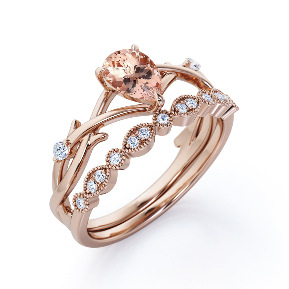 2.25 Carat pear cut Morganite and Diamond Halo art deco Wedding Ring Set in Rose Gold