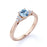 Classic leaf design 1.25 Carat Aquamarine and Diamond Wedding Ring in Rose Gold
