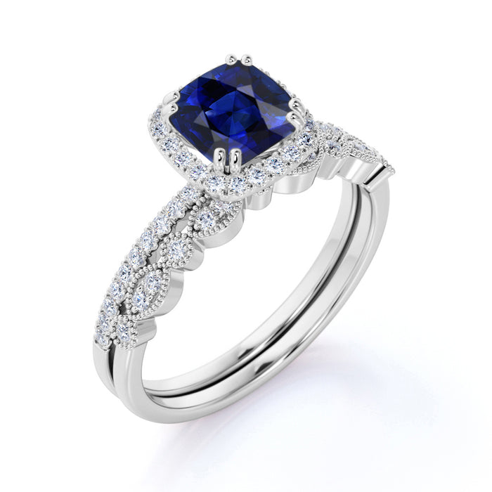 Classic Pave 2 Carat Cushion Cut Sapphire and Diamond Halo Bridal Set with Art Deco Band in White Gold